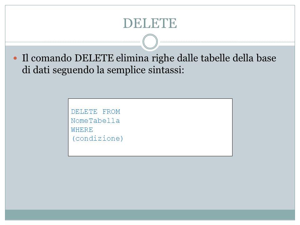 DELETE Il comando DELETE elimina righe dalle tabelle della base di dati seguendo la semplice sintassi: DELETE FROM NomeTabella WHERE (condizione)