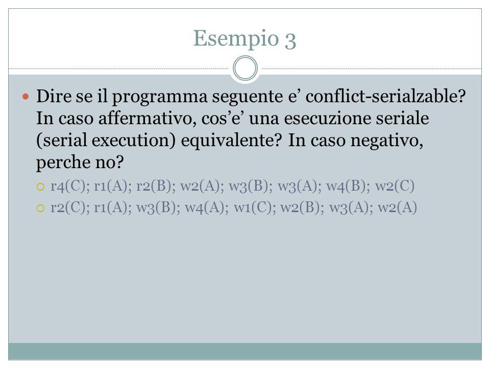 Esempio 4 Descrivere il comportamento di un timestamp-based scheduler con la sequenza di operazioni: st1; r1(A); st2; w2(B); r2(A); w1(B)