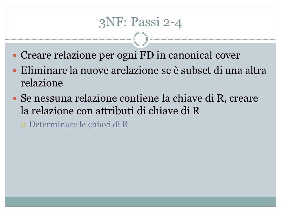 Nel nostro caso A->BC, C->D R1=ABC - la chiave della relazione iniziale R2=CD 3NF!