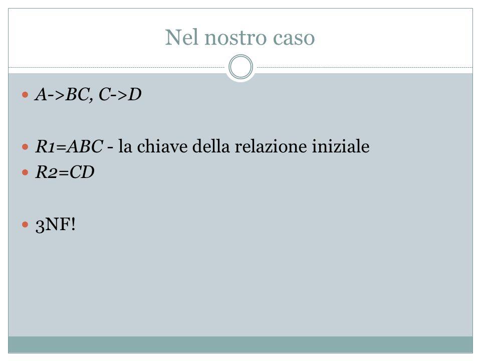 Altri esercizi su FD ABCDE: AB->C, C->E, E->A ABCDEF: A->B, CE->D, CD->A, BC->D, AE->F ABCDEF: A->F, BC->F, AE->D, F->E