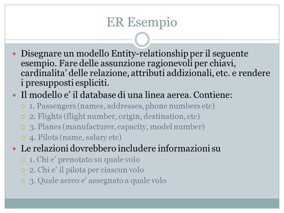 Lo schema di creazione Entità con attributi 1.Passengers (names, addresses, phone numbers etc) 2.