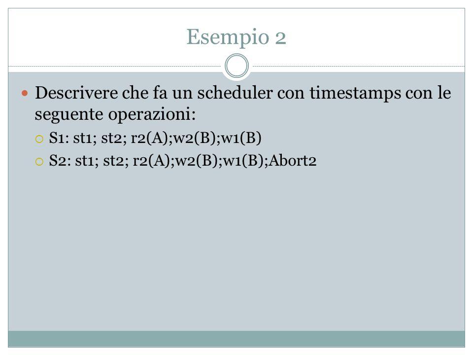 Timestamp-based scheduler Ogni transazione è associata con timestamp (inizio della transazione) Ogni oggeto è associato con due valori RTM, STM Operazione read(x, ts) è cessata se ts<WTM(x), altrimenti operazione è accetata e RTM(x):=ts Operazione write(x, ts) è cessata se ts<WTM(x) o ts<RTM(x), altrimenti operazione è accetata e WTM(x):=ts
