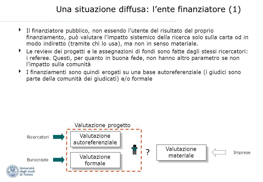 Una situazione diffusa: lente finanziatore (1) Il finanziatore pubblico, non essendo lutente del risultato del proprio finanziamento, può valutare lim