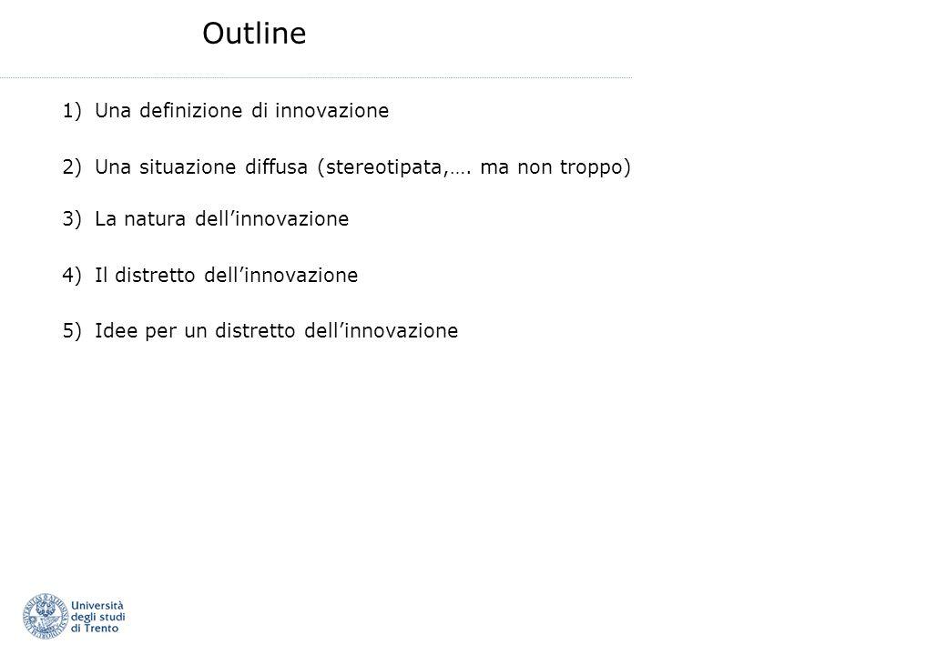 Outline 1)Una definizione di innovazione 2)Una situazione diffusa (stereotipata,…. ma non troppo) 3)La natura dellinnovazione 4)Il distretto dellinnov