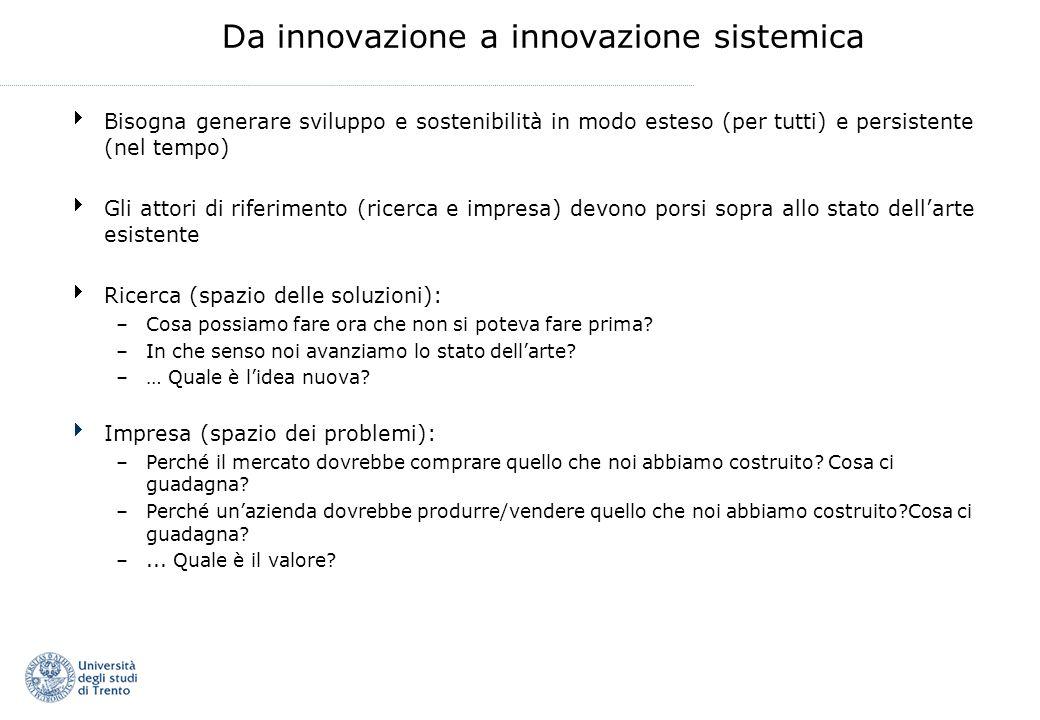 Da innovazione a innovazione sistemica Bisogna generare sviluppo e sostenibilità in modo esteso (per tutti) e persistente (nel tempo) Gli attori di ri