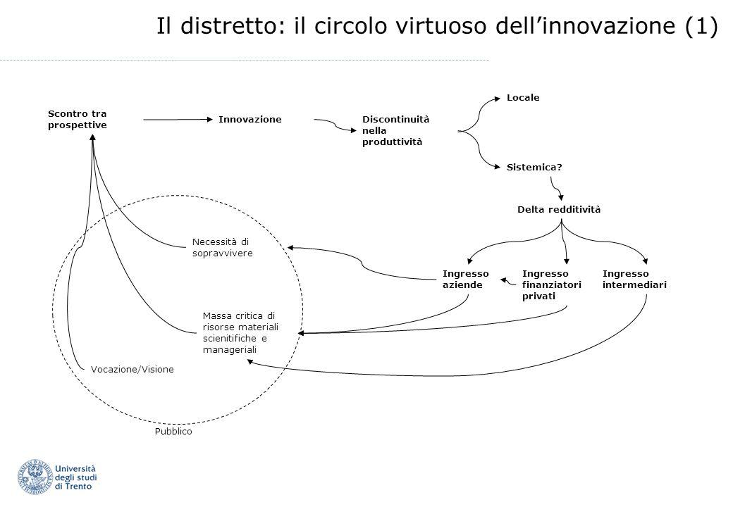 Il distretto: il circolo virtuoso dellinnovazione (1) Necessità di sopravvivere Vocazione/Visione Massa critica di risorse materiali scienitifiche e manageriali Scontro tra prospettive InnovazioneDiscontinuità nella produttività Sistemica.