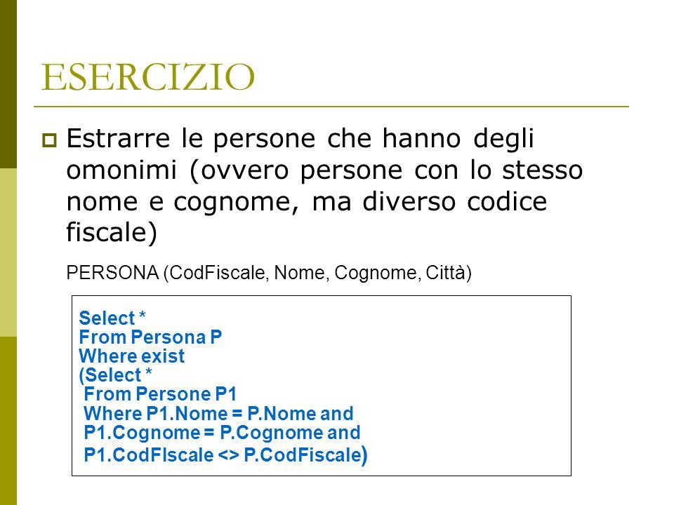 ESERCIZIO Estrarre le persone che hanno degli omonimi (ovvero persone con lo stesso nome e cognome, ma diverso codice fiscale) PERSONA (CodFiscale, Nome, Cognome, Città) Select * From Persona P Where exist (Select * From Persone P1 Where P1.Nome = P.Nome and P1.Cognome = P.Cognome and P1.CodFIscale <> P.CodFiscale )