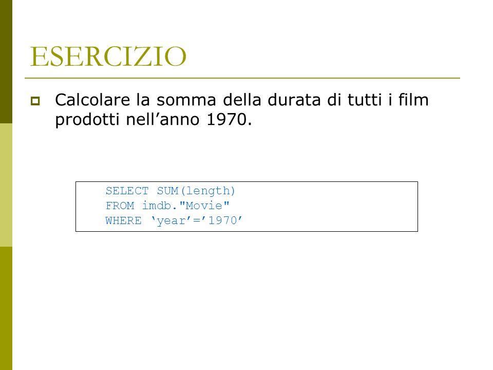 ESERCIZIO Calcolare la somma della durata di tutti i film prodotti nellanno 1970.