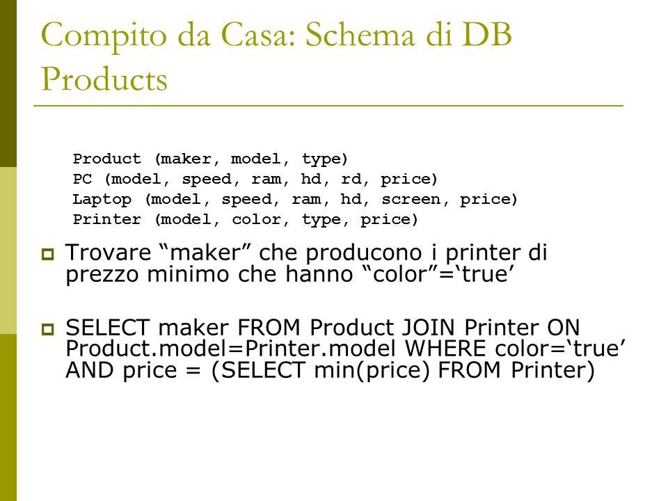 Compito da Casa: Schema di DB Products Trovare maker che producono i printer di prezzo minimo che hanno color=true SELECT maker FROM Product JOIN Printer ON Product.model=Printer.model WHERE color=true AND price = (SELECT min(price) FROM Printer) Product (maker, model, type) PC (model, speed, ram, hd, rd, price) Laptop (model, speed, ram, hd, screen, price) Printer (model, color, type, price)