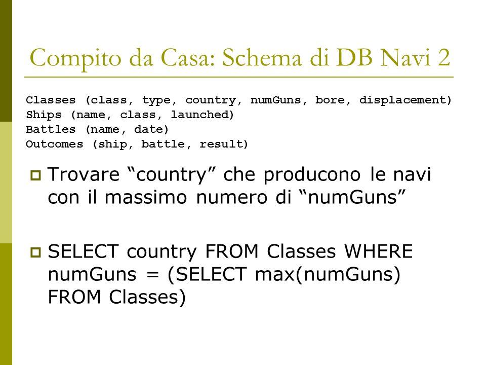 Compito da Casa: Schema di DB Navi 2 Trovare country che producono le navi con il massimo numero di numGuns SELECT country FROM Classes WHERE numGuns = (SELECT max(numGuns) FROM Classes) Classes (class, type, country, numGuns, bore, displacement) Ships (name, class, launched) Battles (name, date) Outcomes (ship, battle, result)
