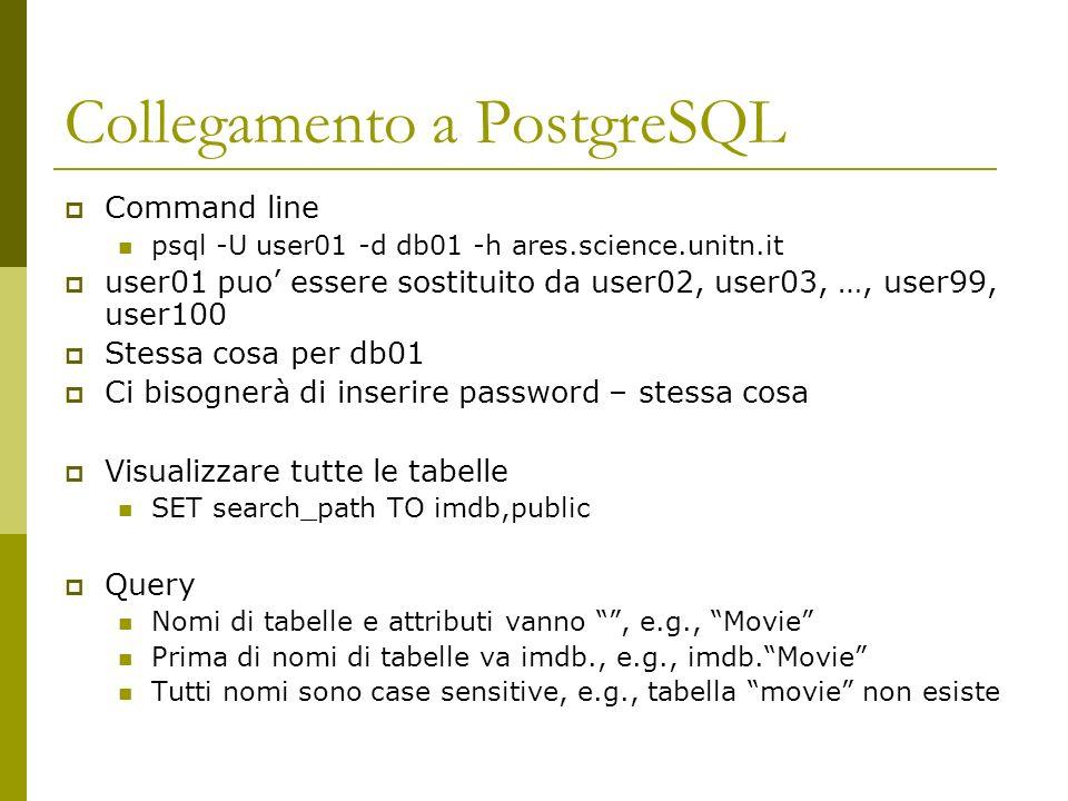 Collegamento a PostgreSQL Command line psql -U user01 -d db01 -h ares.science.unitn.it user01 puo essere sostituito da user02, user03, …, user99, user100 Stessa cosa per db01 Ci bisognerà di inserire password – stessa cosa Visualizzare tutte le tabelle SET search_path TO imdb,public Query Nomi di tabelle e attributi vanno, e.g., Movie Prima di nomi di tabelle va imdb., e.g., imdb.Movie Tutti nomi sono case sensitive, e.g., tabella movie non esiste