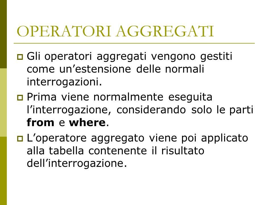 OPERATORI AGGREGATI Gli operatori aggregati vengono gestiti come unestensione delle normali interrogazioni.