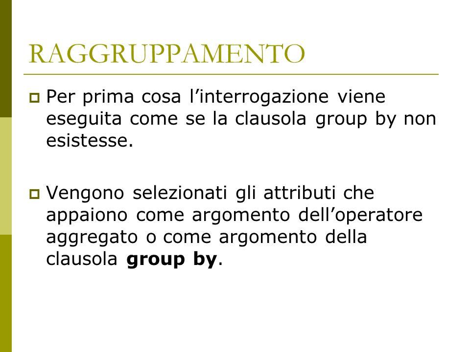 RAGGRUPPAMENTO Per prima cosa linterrogazione viene eseguita come se la clausola group by non esistesse.