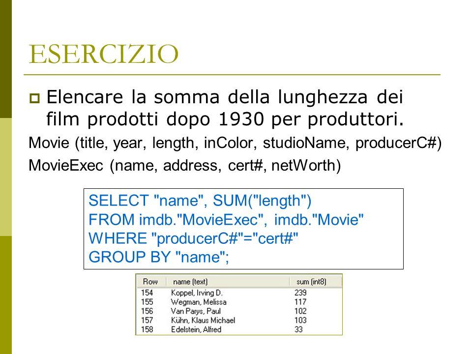 ESERCIZIO Elencare la somma della lunghezza dei film prodotti dopo 1930 per produttori.