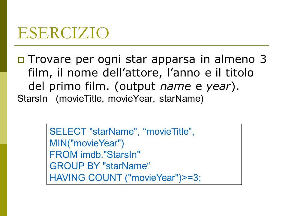 ESERCIZIO Trovare per ogni star apparsa in almeno 3 film, il nome dellattore, lanno e il titolo del primo film.