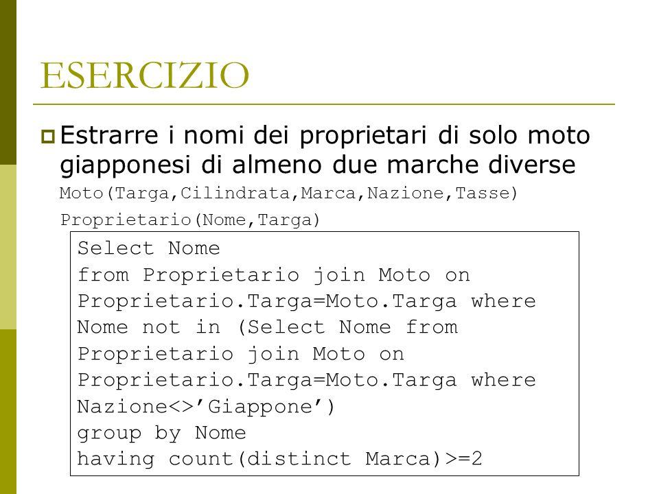 ESERCIZIO Estrarre i nomi dei proprietari di solo moto giapponesi di almeno due marche diverse Moto(Targa,Cilindrata,Marca,Nazione,Tasse) Proprietario(Nome,Targa) Select Nome from Proprietario join Moto on Proprietario.Targa=Moto.Targa where Nome not in (Select Nome from Proprietario join Moto on Proprietario.Targa=Moto.Targa where Nazione<>Giappone) group by Nome having count(distinct Marca)>=2