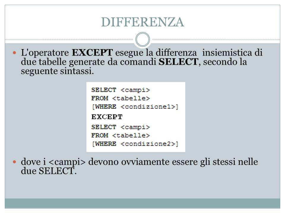 DIFFERENZA L operatore EXCEPT esegue la differenza insiemistica di due tabelle generate da comandi SELECT, secondo la seguente sintassi.