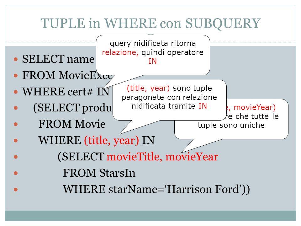 TUPLE in WHERE con SUBQUERY SELECT name FROM MovieExec WHERE cert# IN (SELECT producerC# FROM Movie WHERE (title, year) IN (SELECT movieTitle, movieYear FROM StarsIn WHERE starName=Harrison Ford)) (movieTitle, movieYear) per garantire che tutte le tuple sono uniche (title, year) sono tuple paragonate con relazione nidificata tramite IN query nidificata ritorna relazione, quindi operatore IN