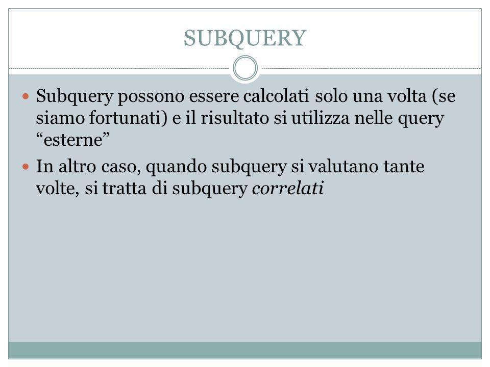 SUBQUERY Subquery possono essere calcolati solo una volta (se siamo fortunati) e il risultato si utilizza nelle query esterne In altro caso, quando subquery si valutano tante volte, si tratta di subquery correlati
