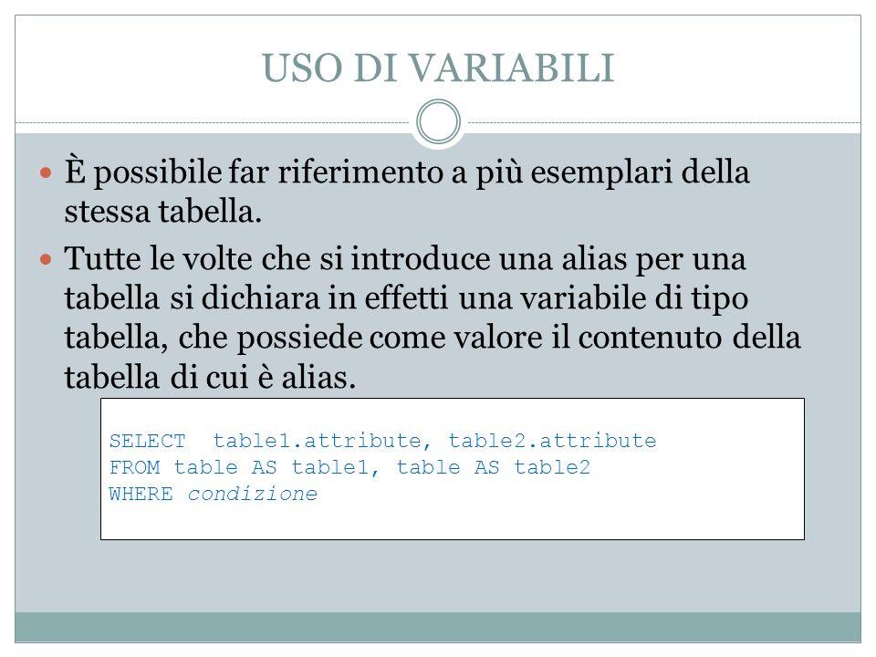 USO DI VARIABILI È possibile far riferimento a più esemplari della stessa tabella.