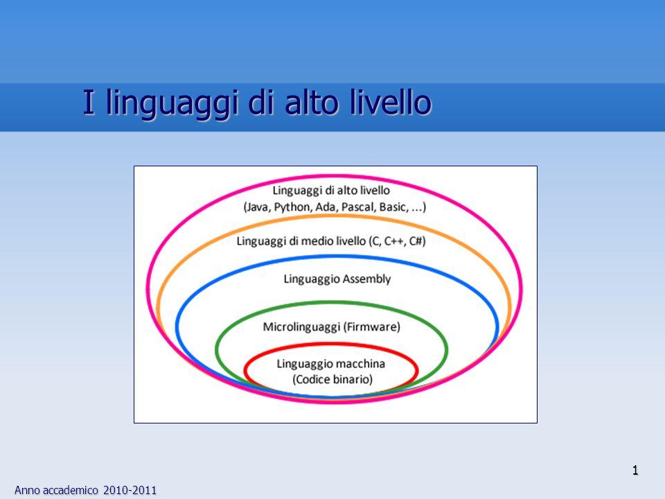 Anno accademico 2010-2011 12 I linguaggi di programmazione: Cenni storici 6 Il passo successivo nellevoluzione dei linguaggi di programmazione tese a rendere la codifica degli algoritmi il più possibile vicina al problema da risolvere, anziché allarchitettura della macchina destinata allesecuzione del programma linguaggi di alto livelloFORTRANCOBOL I primi due linguaggi di alto livello, FORTRAN e COBOL, hanno costrutti fortemente ispirati alla notazione usata, negli anni 50, per lelaborazione numerica e gestionale