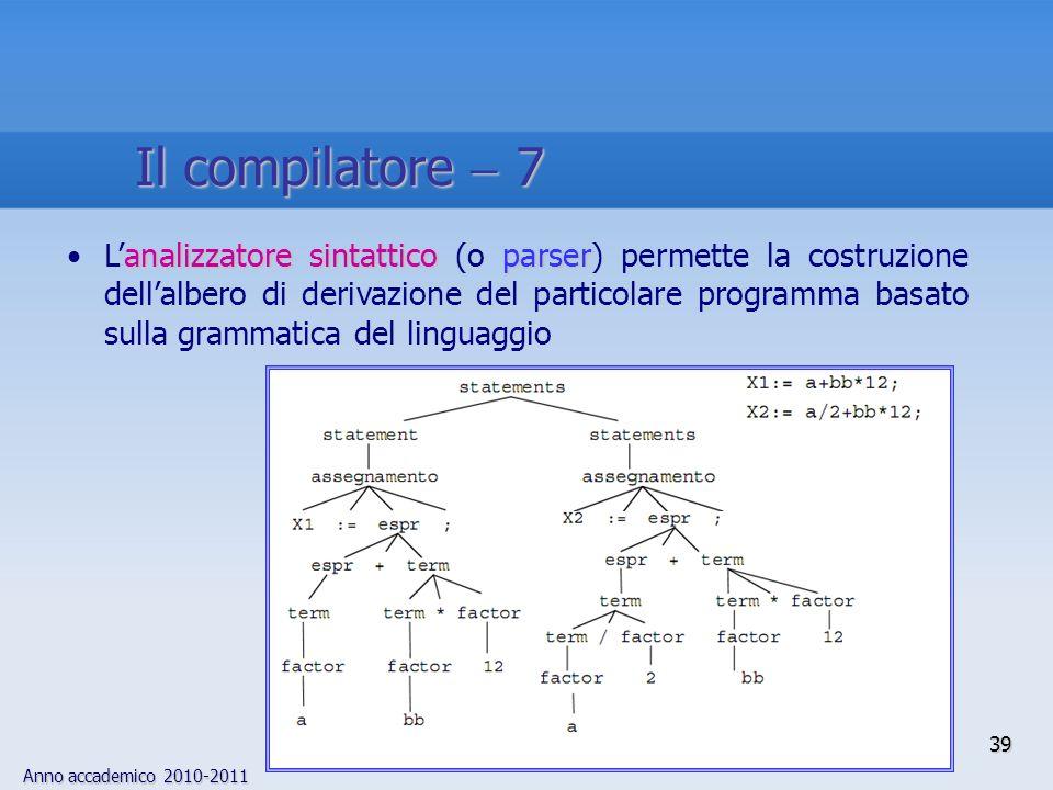 Anno accademico 2010-2011 39 Il compilatore 7 analizzatore sintattico parserLanalizzatore sintattico (o parser) permette la costruzione dellalbero di derivazione del particolare programma basato sulla grammatica del linguaggio