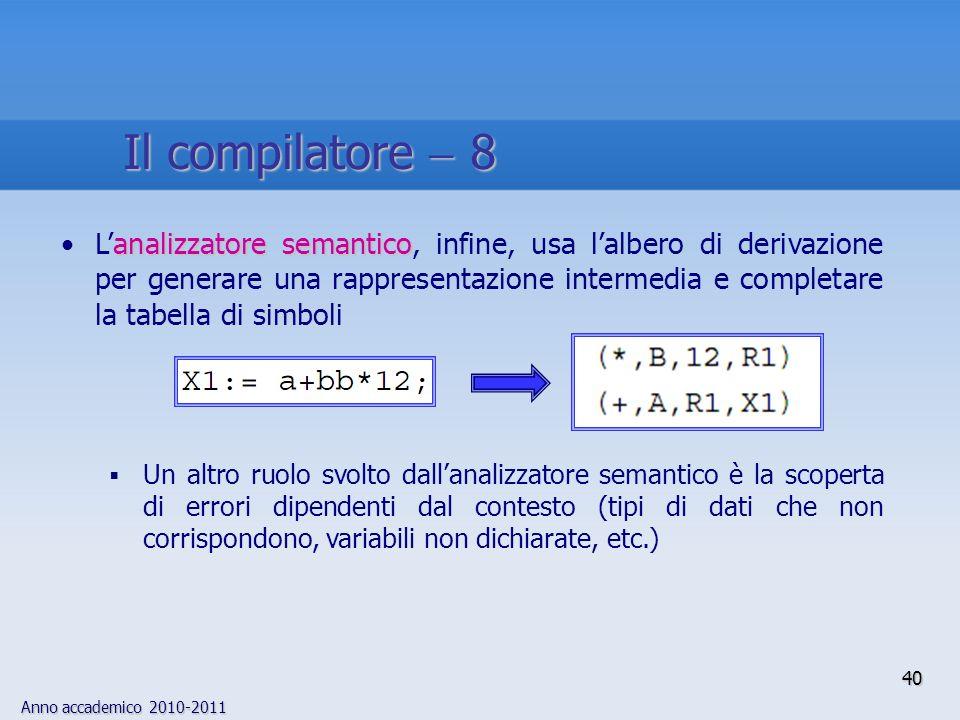 Anno accademico 2010-2011 40 Il compilatore 8 analizzatore semanticoLanalizzatore semantico, infine, usa lalbero di derivazione per generare una rappresentazione intermedia e completare la tabella di simboli Un altro ruolo svolto dallanalizzatore semantico è la scoperta di errori dipendenti dal contesto (tipi di dati che non corrispondono, variabili non dichiarate, etc.)