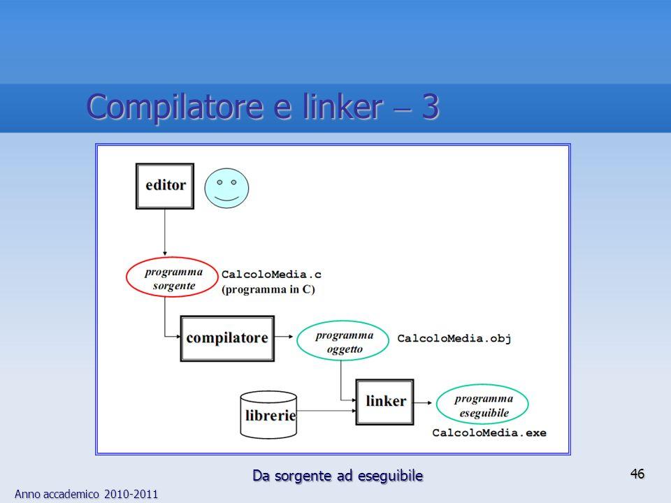 Anno accademico 2010-2011 46 Compilatore e linker 3 Da sorgente ad eseguibile