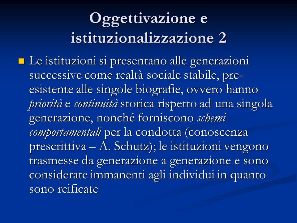 Oggettivazione e identità Lidentità sociale degli altri in termini di stabilità istituzionale è percepita come tipo Lidentità sociale degli altri in termini di stabilità istituzionale è percepita come tipo Ogni comprensione tipo dellaltro si basa su tipizzazioni cognitive.