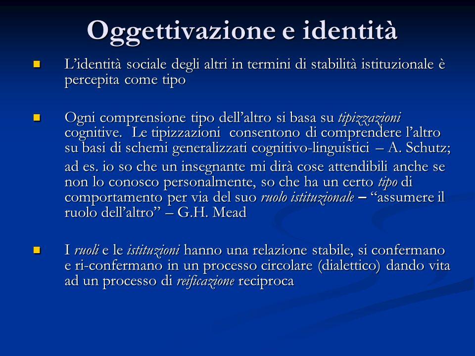 Oggettivazione e trasmissione della realtà sociale La trasmissione del realtà sociale avviene sia durante il processo di sviluppo degli individui da parte di persone importanti- G.