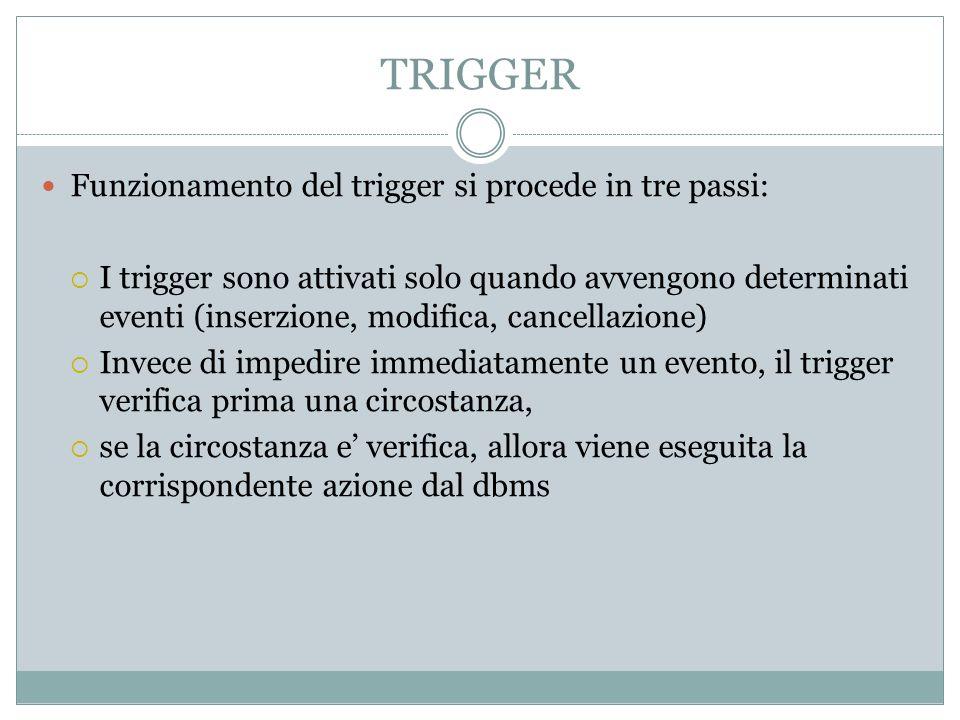 TRIGGER Funzionamento del trigger si procede in tre passi: I trigger sono attivati solo quando avvengono determinati eventi (inserzione, modifica, can