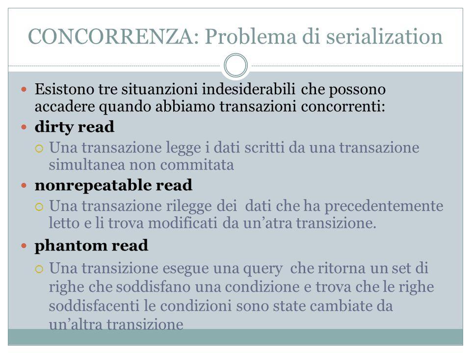 CONCORRENZA: Problema di serialization Esistono tre situanzioni indesiderabili che possono accadere quando abbiamo transazioni concorrenti: dirty read