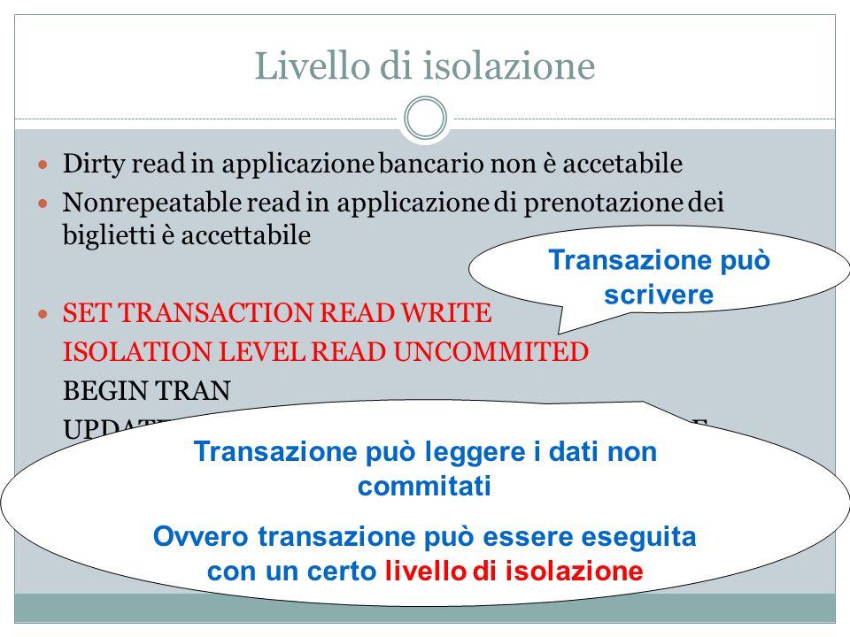 Livello di isolazione Dirty read in applicazione bancario non è accetabile Nonrepeatable read in applicazione di prenotazione dei biglietti è accettab