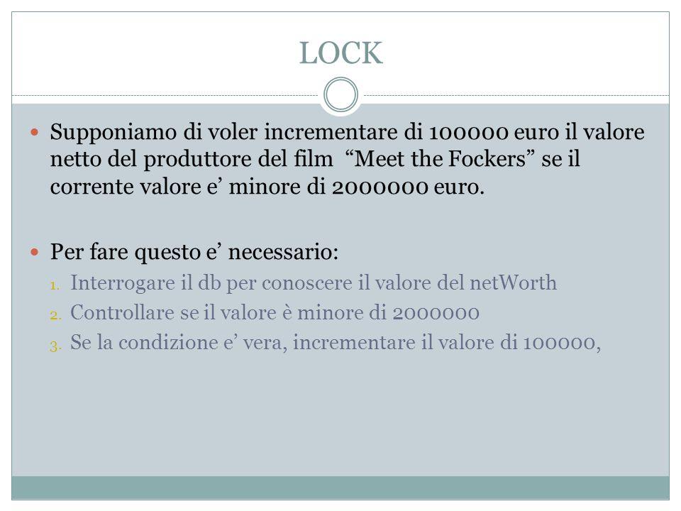LOCK Supponiamo di voler incrementare di 100000 euro il valore netto del produttore del film Meet the Fockers se il corrente valore e minore di 200000