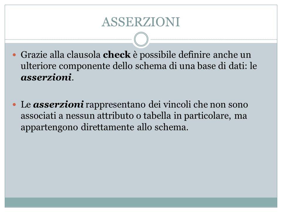 ASSERZIONI Grazie alla clausola check è possibile definire anche un ulteriore componente dello schema di una base di dati: le asserzioni. Le asserzion
