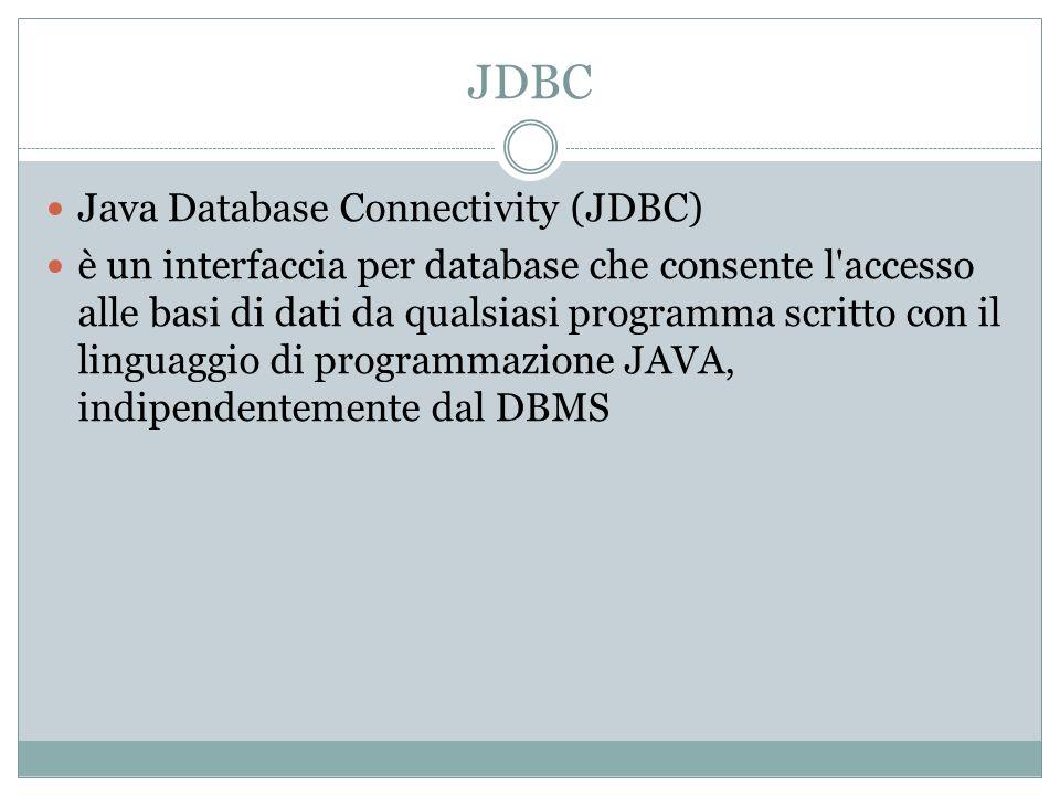 JDBC Java Database Connectivity (JDBC) è un interfaccia per database che consente l'accesso alle basi di dati da qualsiasi programma scritto con il li