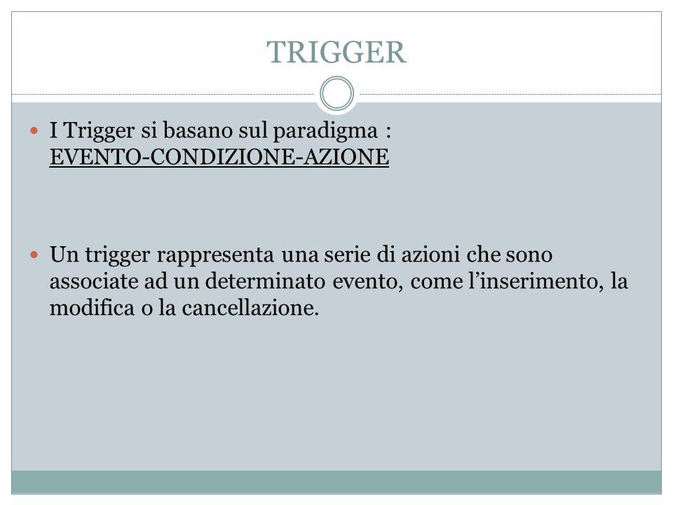 TRIGGER I Trigger si basano sul paradigma : EVENTO-CONDIZIONE-AZIONE Un trigger rappresenta una serie di azioni che sono associate ad un determinato e
