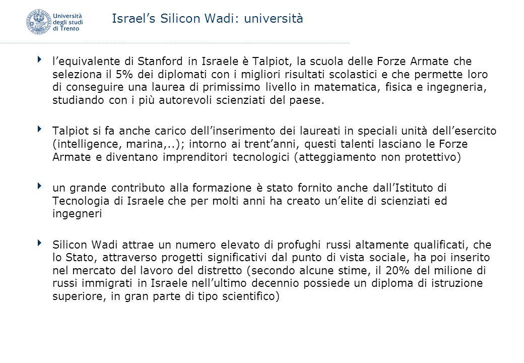 Israels Silicon Wadi: università lequivalente di Stanford in Israele è Talpiot, la scuola delle Forze Armate che seleziona il 5% dei diplomati con i m