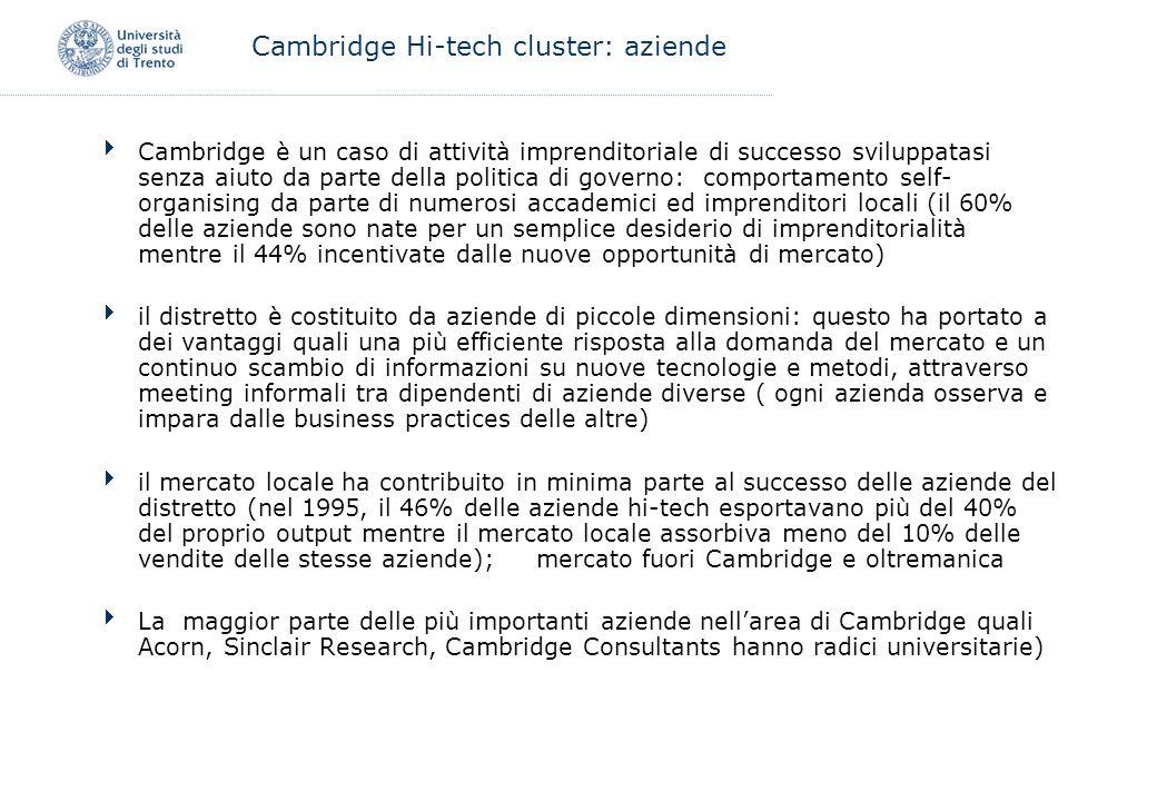 Cambridge è un caso di attività imprenditoriale di successo sviluppatasi senza aiuto da parte della politica di governo: comportamento self- organisin