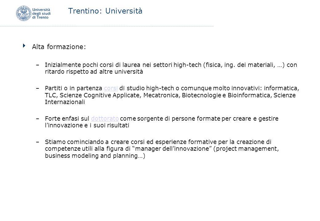 Trentino: Università Alta formazione: –Inizialmente pochi corsi di laurea nei settori high-tech (fisica, ing. dei materiali, …) con ritardo rispetto a