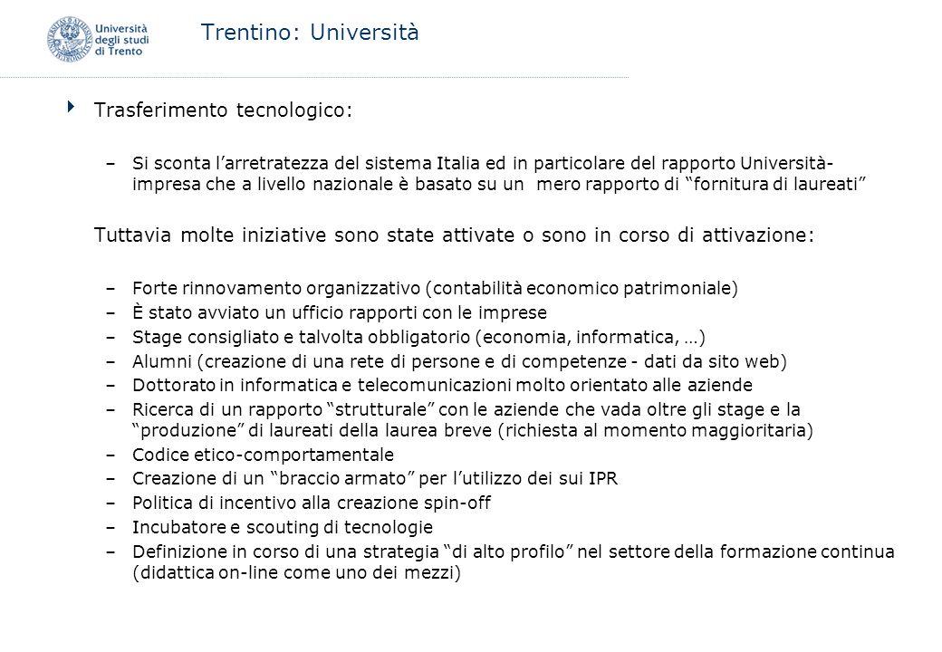 Trentino: Università Trasferimento tecnologico: –Si sconta larretratezza del sistema Italia ed in particolare del rapporto Università- impresa che a l