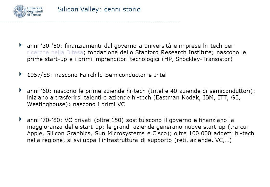 Silicon Valley: cenni storici anni 30-50: finanziamenti dal governo a università e imprese hi-tech per ricerche nella Difesa; fondazione dello Stanfor
