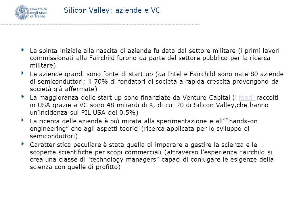 Silicon Valley: aziende e VC La spinta iniziale alla nascita di aziende fu data dal settore militare (i primi lavori commissionati alla Fairchild furo