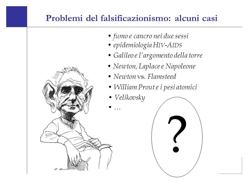 Galileo e largomento della torre Newton, Laplace e Napoleone Newton vs. Flamsteed William Prout e i pesi atomici Velikovsky ? fumo e cancro nei due se