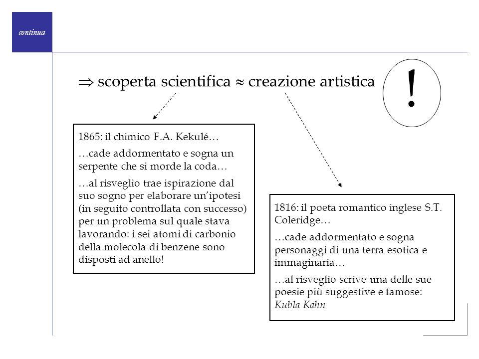 scoperta scientifica creazione artistica continua ! 1865: il chimico F.A. Kekulé… …cade addormentato e sogna un serpente che si morde la coda… …al ris
