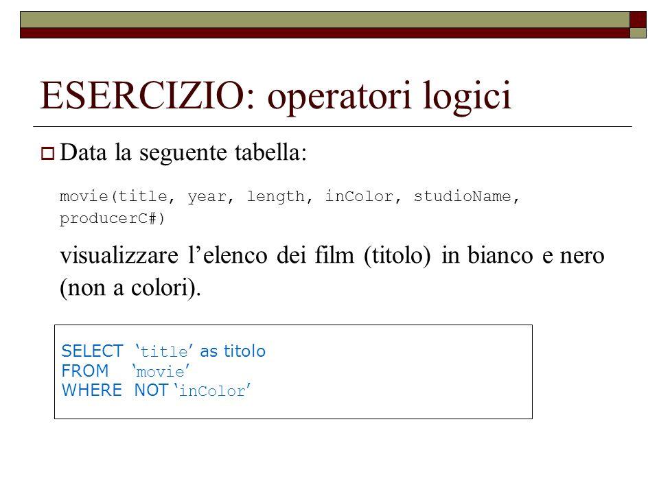 ESERCIZIO: operatori logici Data la seguente tabella: movie(title, year, length, inColor, studioName, producerC#) visualizzare lelenco dei film (titol