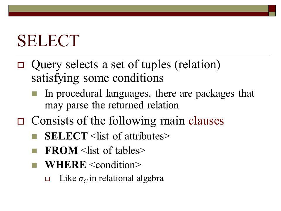 ESERCIZIO: operatori logici Data la seguente tabella: movie(title, year, length, inColor, studioName, producerC#) visualizzare lelenco dei film (titolo) in bianco e nero (non a colori).