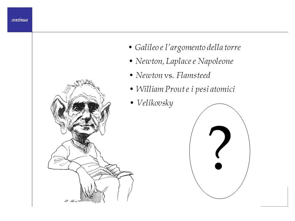 Galileo e largomento della torre Newton, Laplace e Napoleone Newton vs. Flamsteed William Prout e i pesi atomici Velikovsky ?