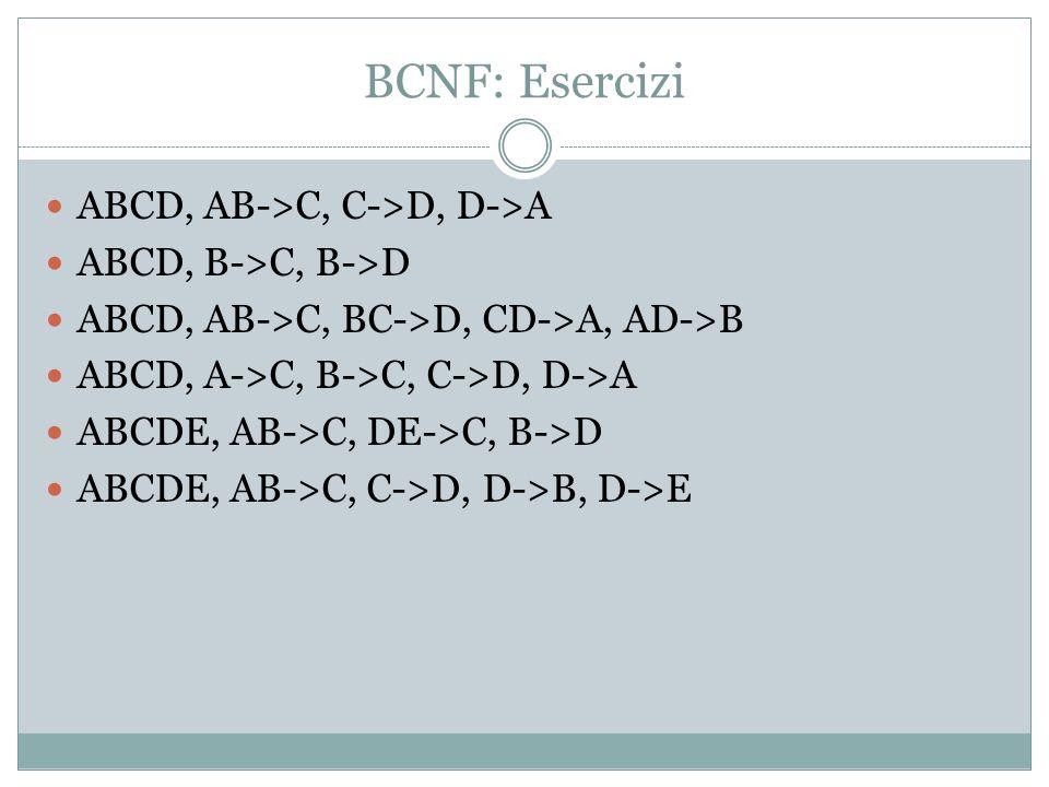 BCNF: Esercizi ABCD, AB->C, C->D, D->A ABCD, B->C, B->D ABCD, AB->C, BC->D, CD->A, AD->B ABCD, A->C, B->C, C->D, D->A ABCDE, AB->C, DE->C, B->D ABCDE, AB->C, C->D, D->B, D->E