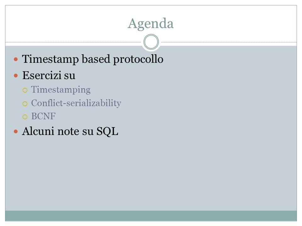 Agenda Timestamp based protocollo Esercizi su Timestamping Conflict-serializability BCNF Alcuni note su SQL